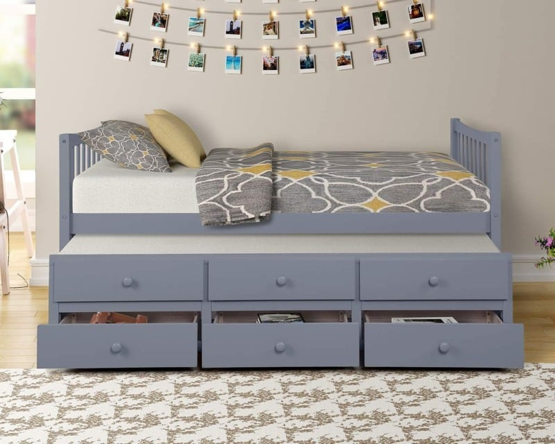Danxee Wood Twin Day Beds with Trundle and Storage Drawers