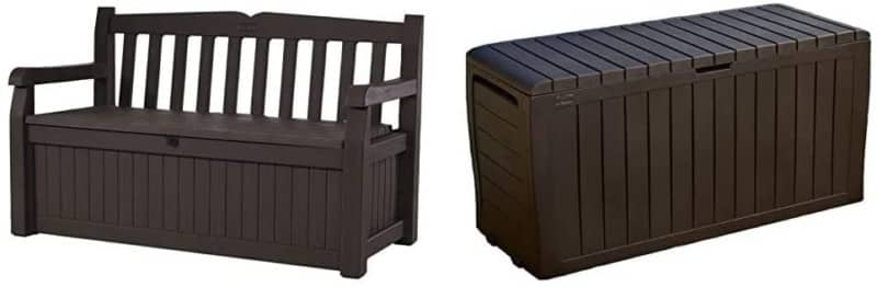 Outdoor Deck Bench, Storage Box 70 Gallon, Patio Seating Furniture, KETER EDEN