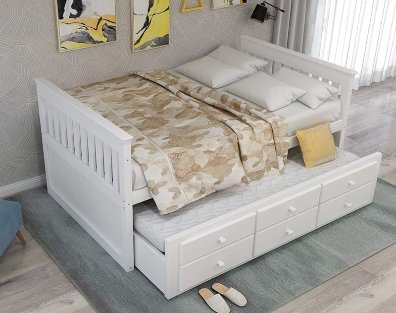 Rhomtree Storage Twin Day Beds with Trundle and 3 Storage Drawers
