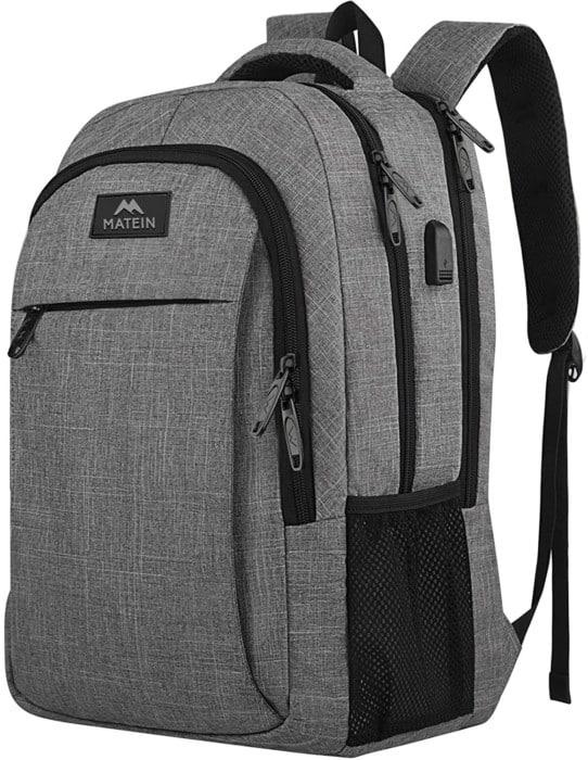 Matein Travel, Business, College Waterproof Laptop Rucksack for Men & Women (Grey)