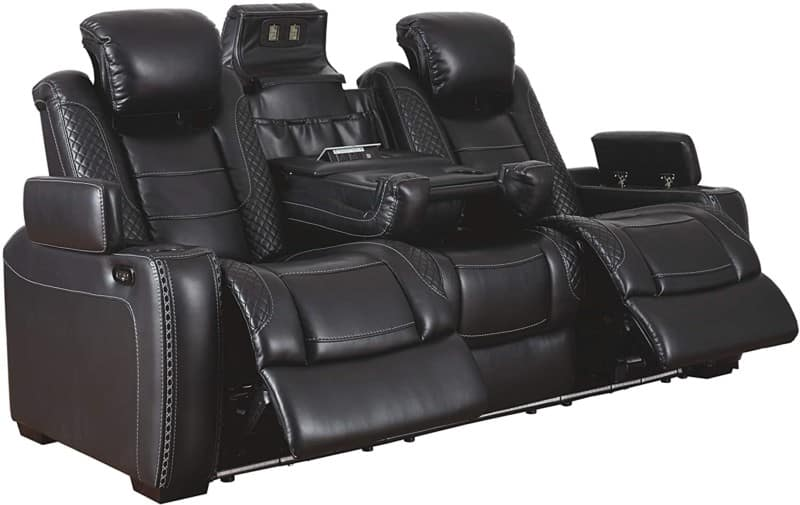 Faux Leather Power Reclining Sofa LED Lighting