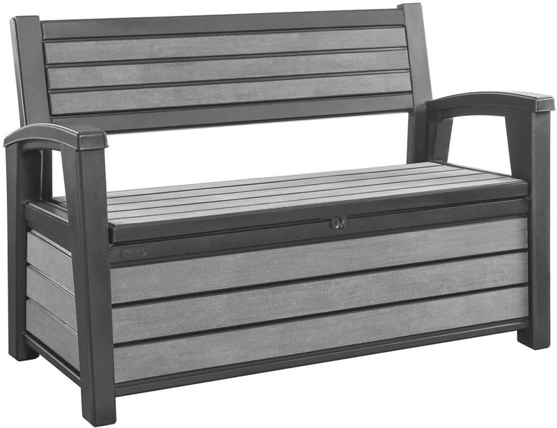 Outdoor Patio Bench, Storage Space 60 Gallons, Keter Hudson