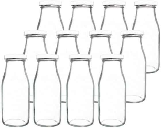 YEBODAGlass Milk Bottles with Reusable Metal