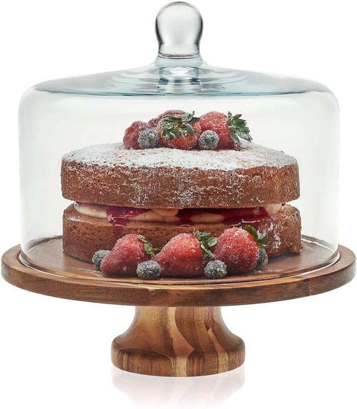 9. Libbey Acaciawood Cake Stand