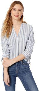 Collarless Button Down Shirt