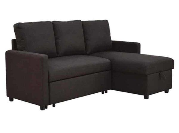 Benjara Fabric Sofa Bed with Storage