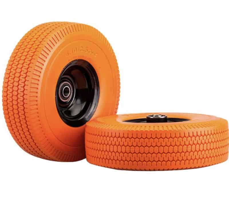 SLT 4.10_3.50-4_ Flat Free Wheelbarrow Tire, 2_ Offset Hub, 5_8_ Ball Bearings, Durable Replacement Tire