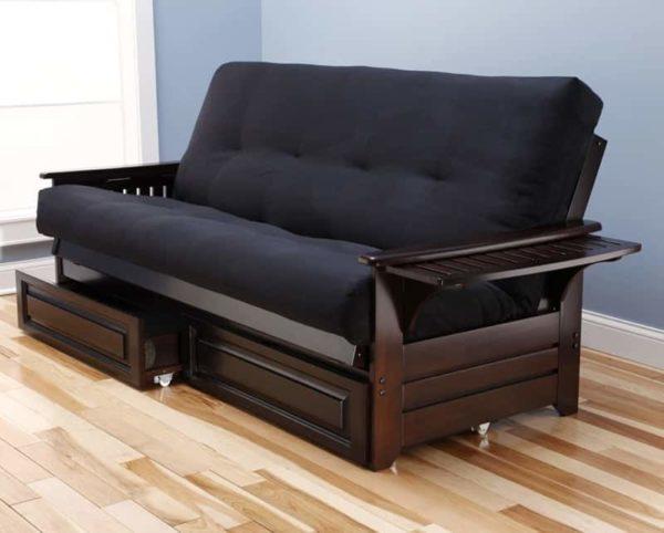Kodaik Phoenix Espresso Wood Sofa Bed with Storage Queen Size