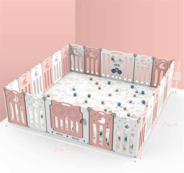 LEILEI Foldable Portable Playpen for Kid and Toddler with Lockable Door