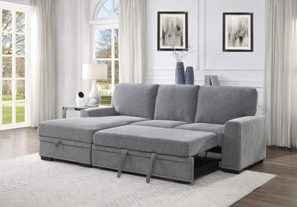 Lexicon Winona Chaise Sectional Sofa Bed with Storage
