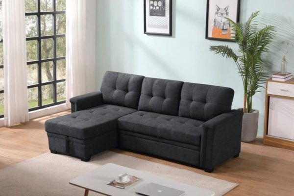 Lilola Upholstered Modern Sofa Bed with Storage Chaise