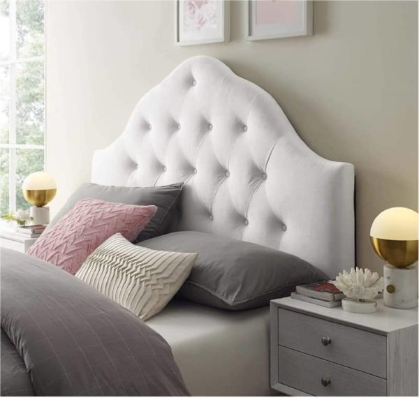 Modway Velvet Headboard White Twin Bed