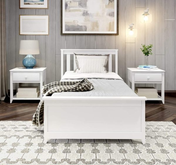 Plank+Beam White Twin Bed