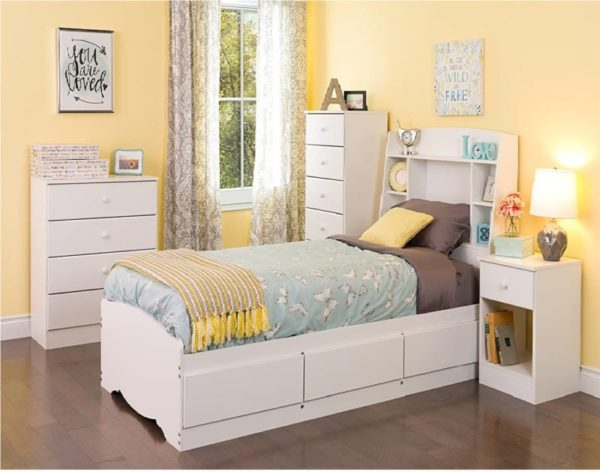 Prepac White and Astrid Twin Bed with Storage