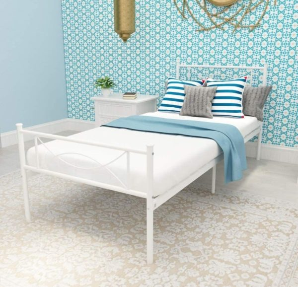 SimLife Metal Two Headboards Strong White Twin Bed