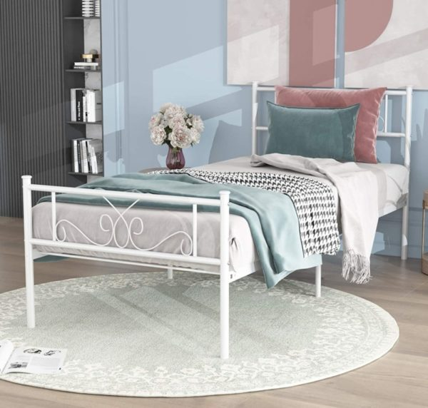 Simlife Strong Steel White Twin Bed with Storage