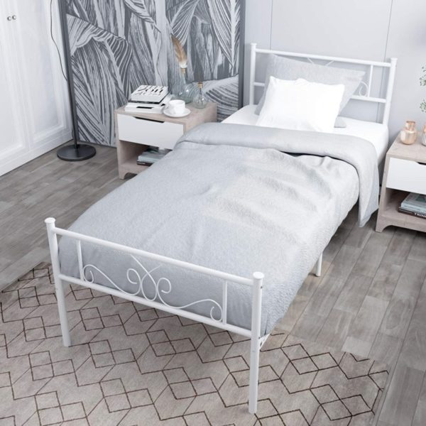 WeeHom Single Frame White Twin Bed with flower design