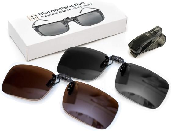 Elements Active Polarized Clip-on Sunglasses
