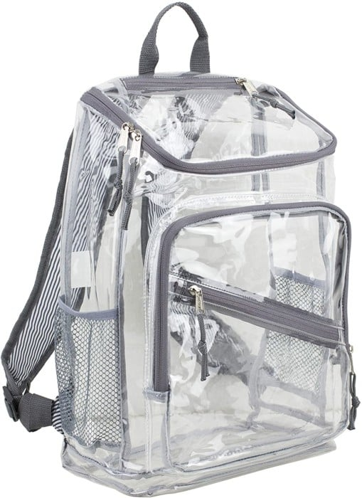 Eastsport Clear Backpack with Gray/Pin Stripe Print Straps