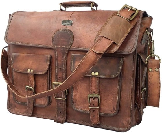 DHK Vintage Handmade Leather Cuero Messenger Bag brand with Classic Style