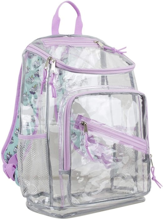 Eastsport Clear Backpack with Unicorn Donuts Print Straps