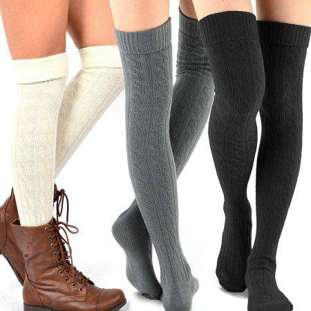 TeeHee 3Pair combo Women's Fashion over the knee-High socks