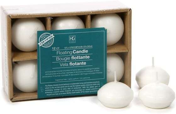 Hosley's Set White Unscented Floating Disc Candles