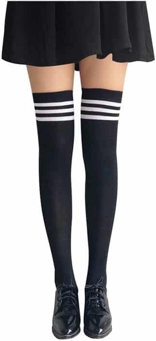 Zondo Women Stripe Tube Dresses Thigh High Stockings Cosplay Socks Over the Knee