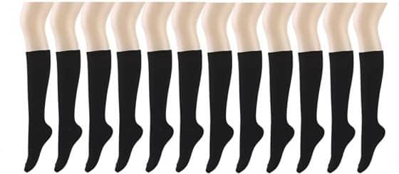 Premium quality Assorted Color Knee High Socks (12 Pair)