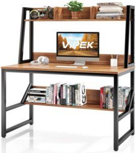 desk with bookshelf