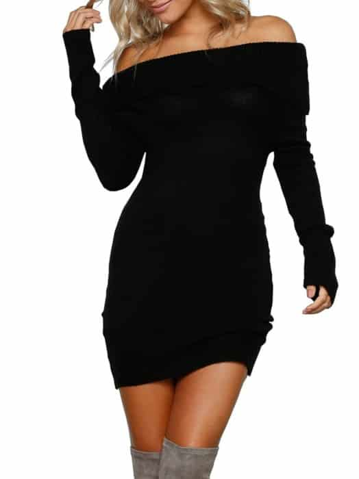 Simplee Off Shoulder Sweater Dress