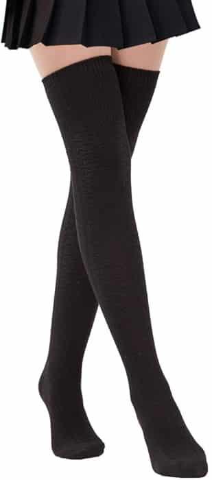 Women thigh high socks over the knee girls' winter warm crochet socks